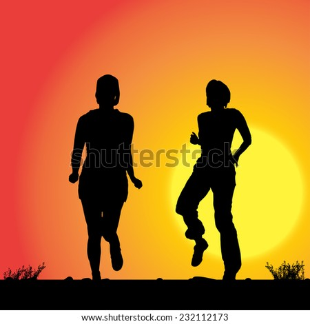 Vector silhouette of the women who runs on sunset. - stock vector