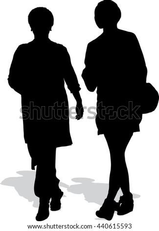 Vector silhouette of two walking women - stock vector