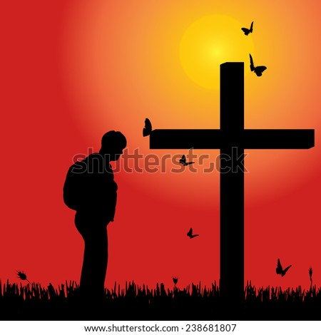 Vector silhouette of woman at the cross at sunset. - stock vector