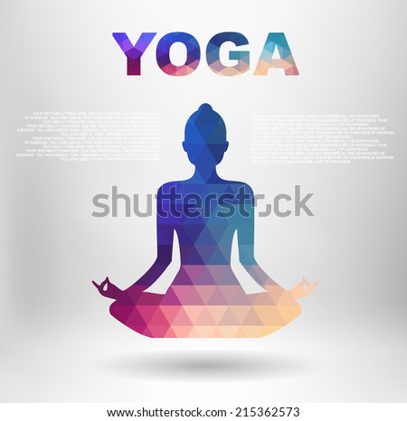 Vector silhouette of woman practicing yoga with place for text and