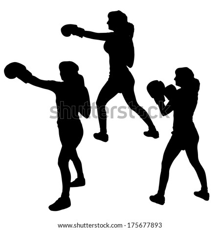 Vector silhouette of woman who boxes on a white background. - stock vector