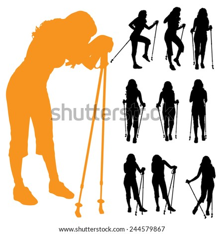 Vector silhouette of woman with Nordic walking. - stock vector