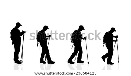 Vector silhouette of woman with nordic walking on a white background. - stock vector
