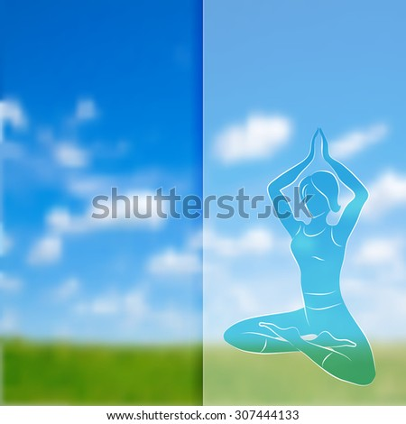 Vector silhouette of young woman practicing yoga posing on blurred nature background. - stock vector
