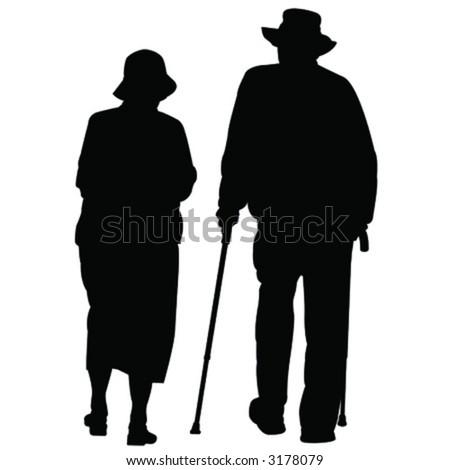 vector silhouette people - stock vector