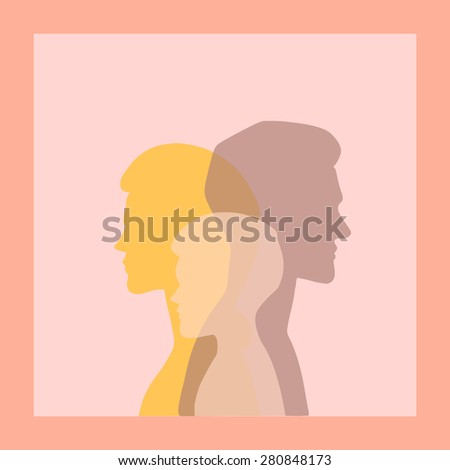 Vector silhouette portraits of a man, woman and a child. Transparent intersecting layers, vector illustration. Greeting card, poster, concept illustration, web design element, icon, packaging design. - stock vector