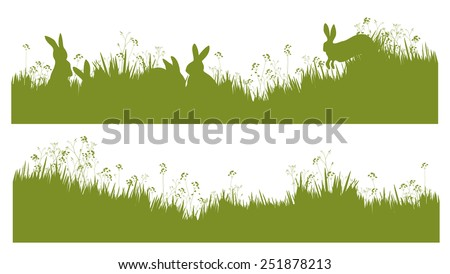 Vector silhouette rabbits in grass background. - stock vector