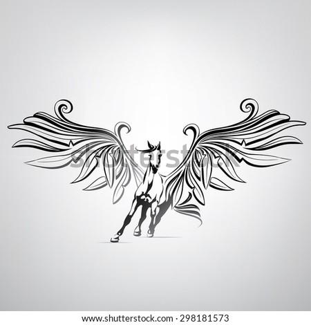 Vector silhouette running Pegasus - stock vector