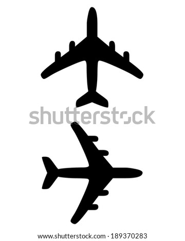 Vector silhouette set of an airplane - stock vector
