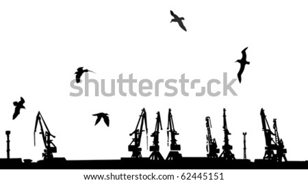 vector silhouette shipyard - stock vector