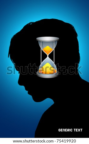 Vector Silhouette with time symbol - stock vector