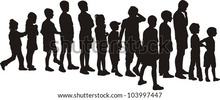 vector silhouettes children, standing in a row - stock vector