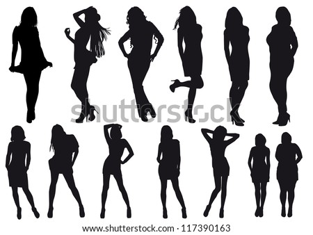 Vector silhouettes drawing girl - stock vector