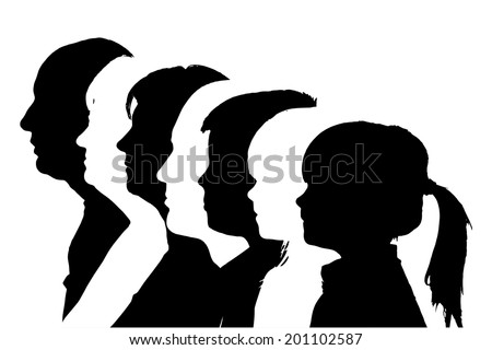 Vector silhouettes family in profile on white background. - stock vector