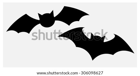 Vector silhouettes of bats  - stock vector