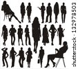 Vector silhouettes of business lady - stock vector