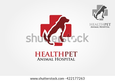 Vector silhouettes of cat and dog on the poster for veterinary shop or clinic - stock vector