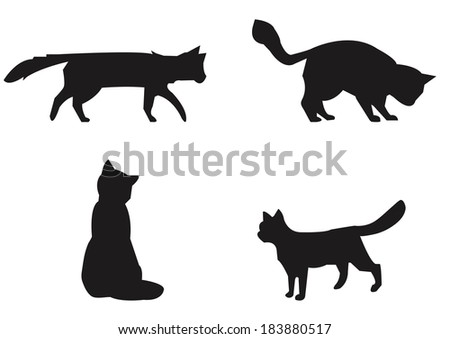 Vector silhouettes of cats for your design - stock vector