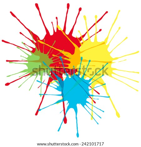 vector silhouettes of colored blots - stock vector