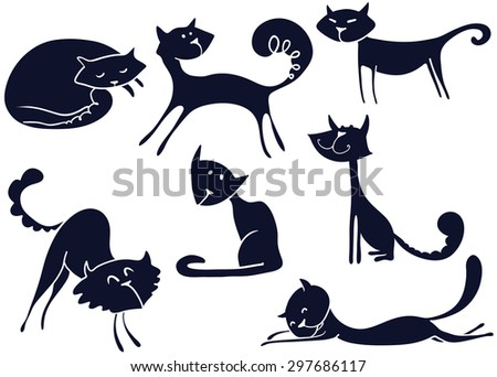 Vector silhouettes of cute cats - stock vector