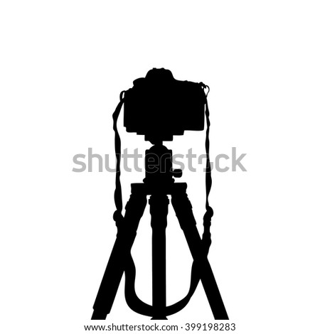 Vector silhouettes of dslr photo camera on tripod isolate on white background. - stock vector