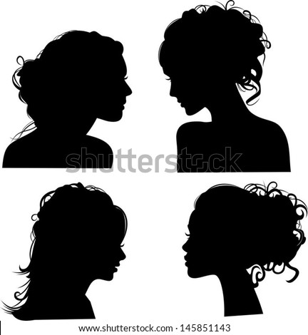 Vector silhouettes of girls hairstyles - stock vector