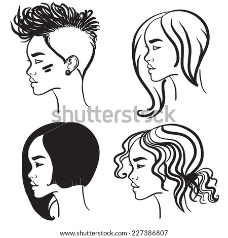 Vector silhouettes of girls hairstyles. Four face in profile - stock vector