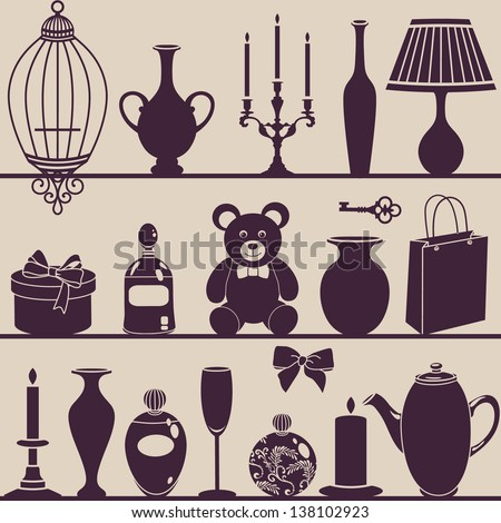 vector silhouettes of interior things - stock vector