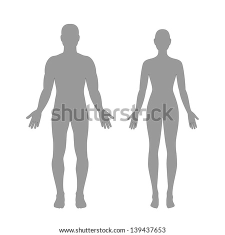 Vector silhouettes of man and woman in grey color - stock vector