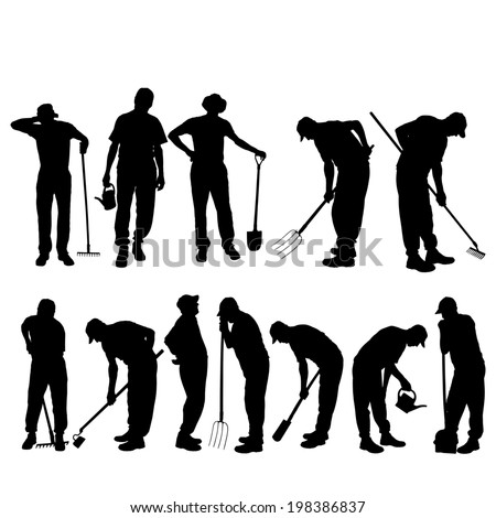 Vector silhouettes of people for gardening tools. - stock vector