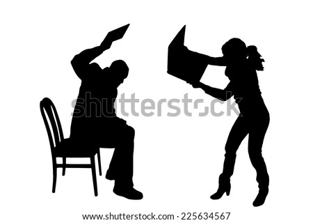 Vector silhouettes of people in office on a white background. - stock vector