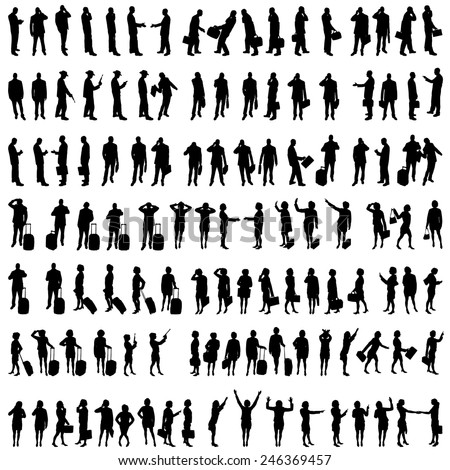 Vector silhouettes of people in set on a white background. - stock vector
