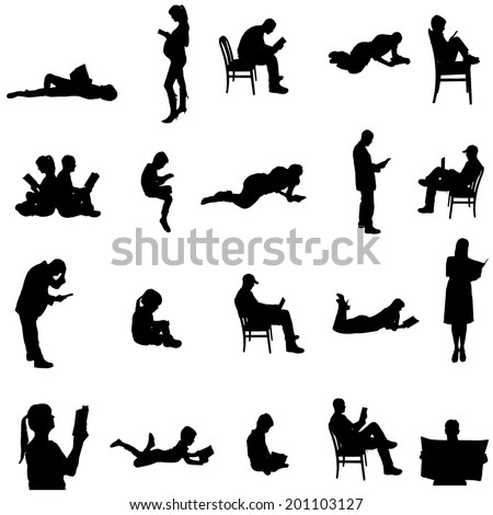 Vector silhouettes of people sitting in a chair. - stock vector