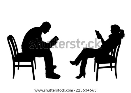 Vector silhouettes of people sitting on a chair. - stock vector
