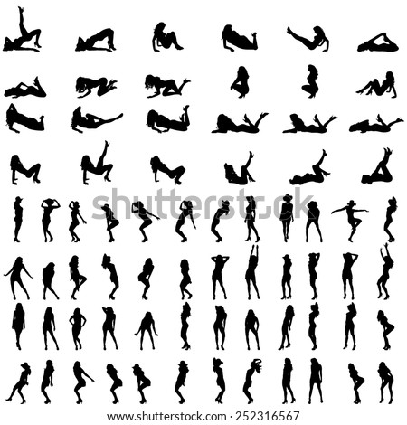 Vector silhouettes of sexy women on a white background. - stock vector