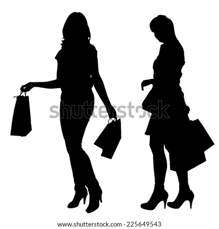 Vector silhouettes of women going shopping on white background. - stock vector