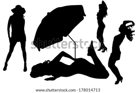 Vector silhouettes women on beach on white background - stock vector