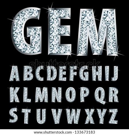 vector silver alphabet with diamonds - stock vector