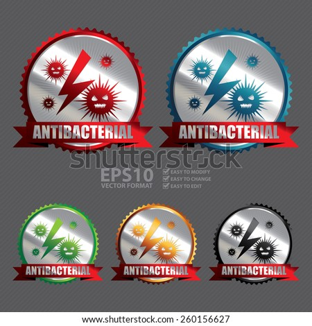 Vector : Silver Antibacterial Ribbon, Badge, Icon, Sticker, Banner, Tag, Sign or Label - stock vector