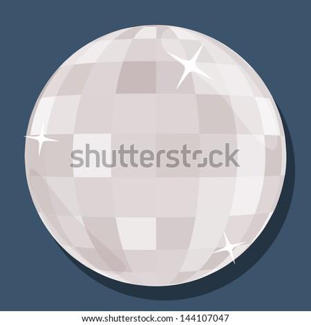 Vector silver disco ball  in 'flat' style - stock vector