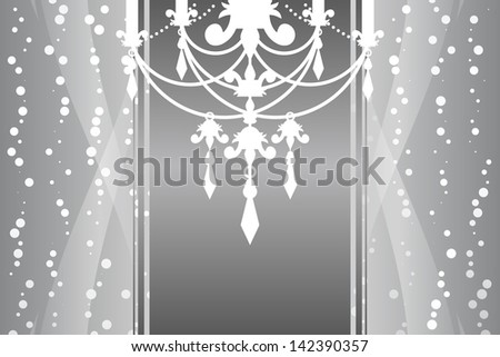 Vector silver frame with chandelier - stock vector