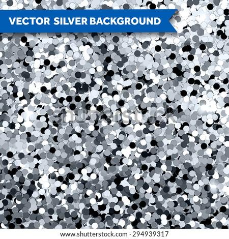 Vector Silver Glittering background - stock vector