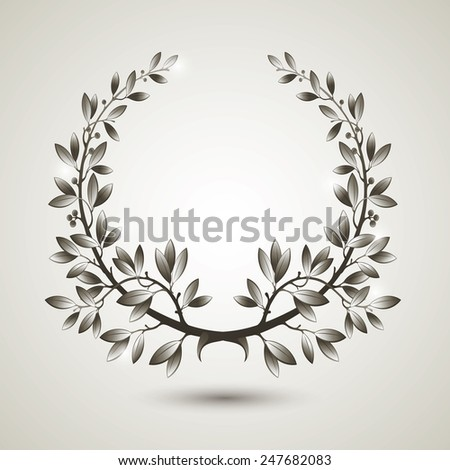 Vector silver laurel wreath with shadow. - stock vector