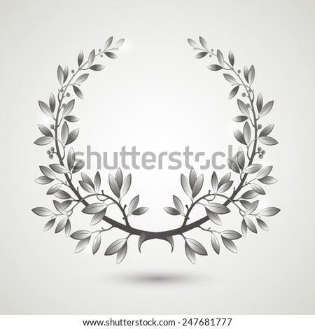 Vector silver laurel wreath with shadow.  EPS 10 - stock vector