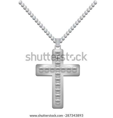 Vector Silver  Metal Cross Isolated on White Background. Christian Religious Symbol. - stock vector