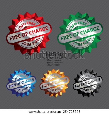 Vector : Silver Metallic Free of Charge 100% Free Icon, Label, Sign or Sticker - stock vector