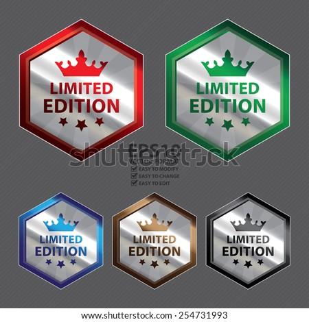 Vector : Silver Metallic Hexagon Limited Edition Button, Icon, Label, Sign or Sticker - stock vector