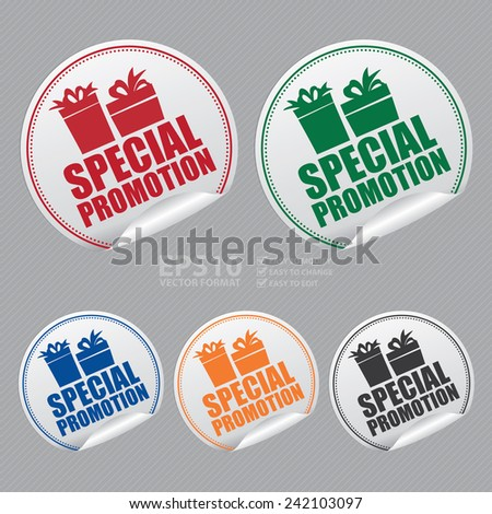 Vector: Silver Metallic Special Promotion Sticker, Icon or Label - stock vector