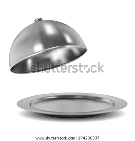Vector silver opened cloche on white background - stock vector