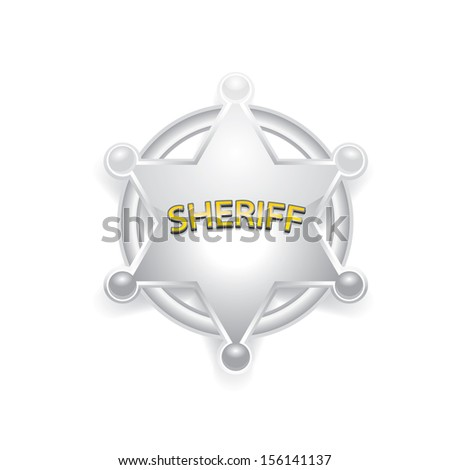 vector silver sheriff star isolated on white background. - stock vector